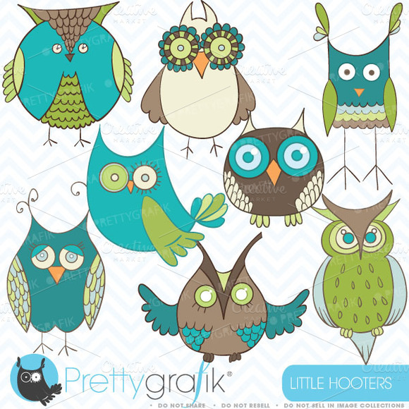Green Owl Clipart Commercial Use