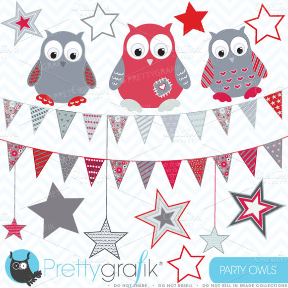 Owls Flags And Stars Clipart