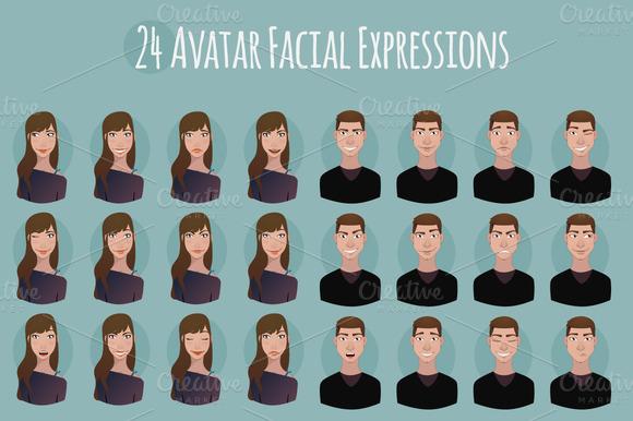 24 Avatar Facial Expressions