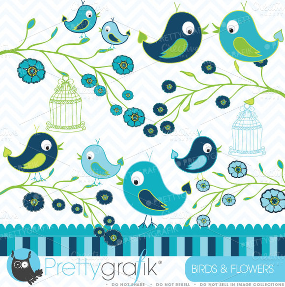 Birds And Flowers Clipart Commercial