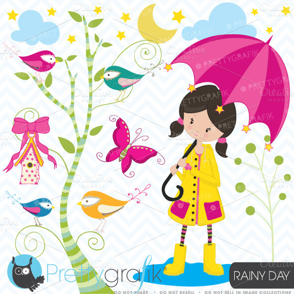 Little Girl In The Rain Clipart