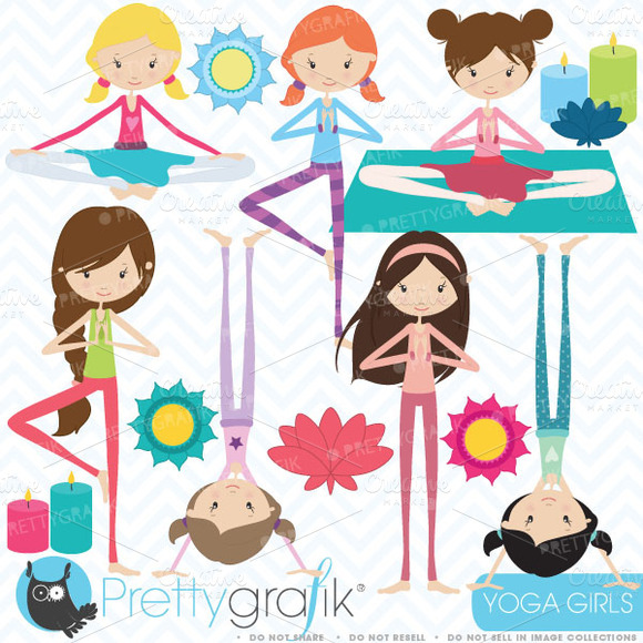 Yoga Girls Clipart Commercial Use