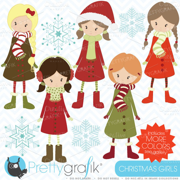 Winter Christmas Girls Clipart