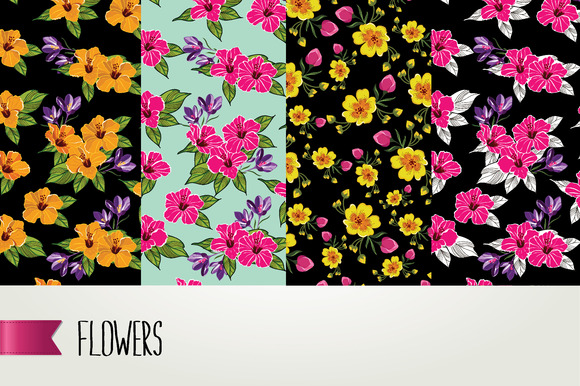 4 Seamless Flower Pattern