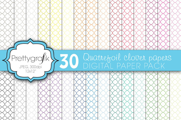 Quatrefoil Clover Digital Paper