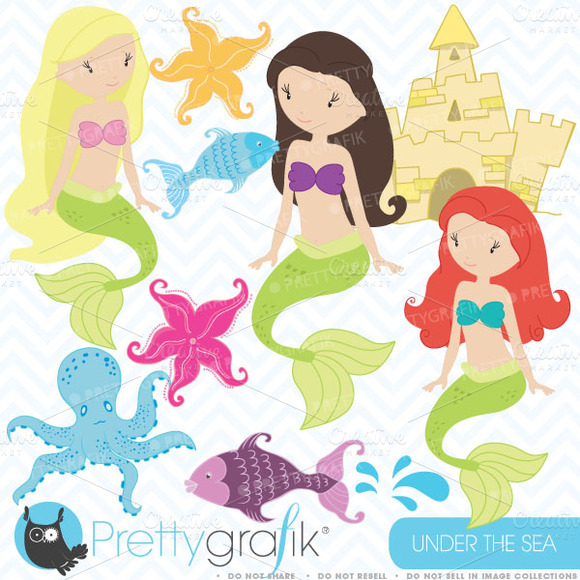 Mermaid Clipart Commercial Use