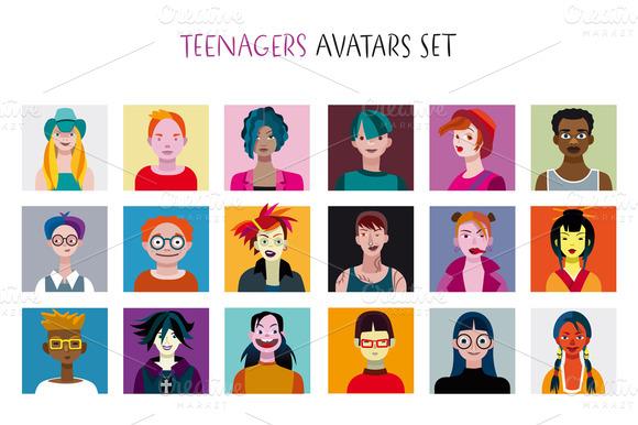 Teenagers Avatars Set