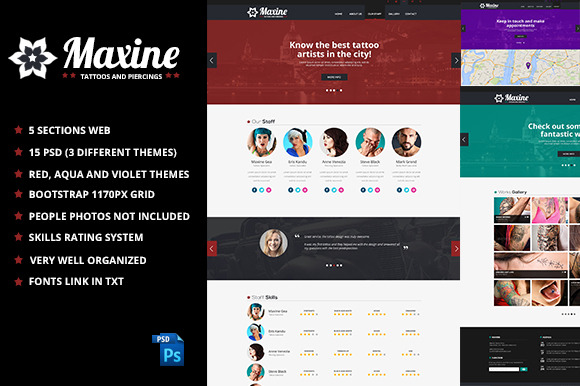 Maxine Tattoo PSD Web Template