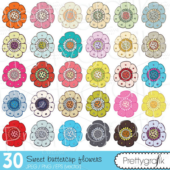 30 Flower Clipart Commercial Use