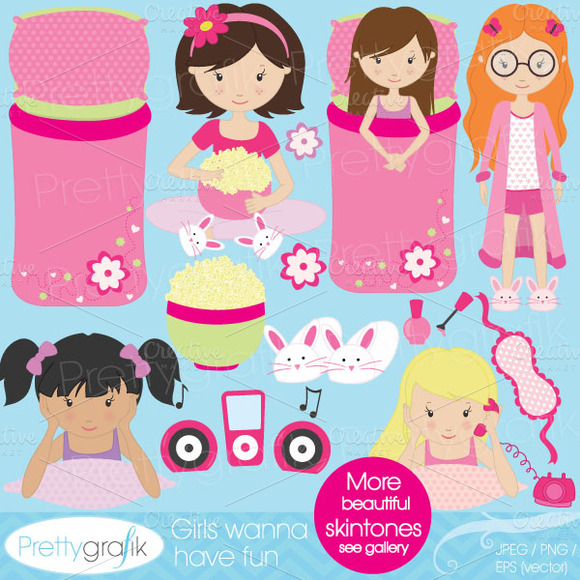 Sleepover Clipart For Scrapbooking