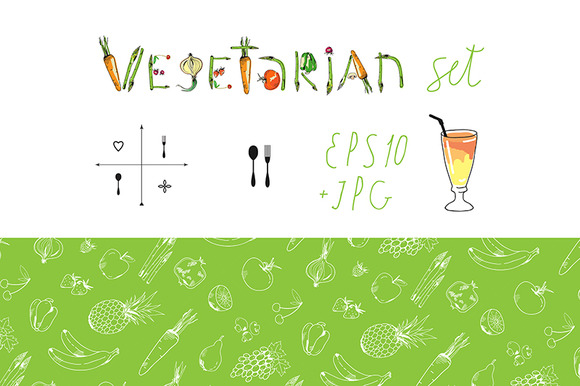 Vegetarian Set Seamless Patterns