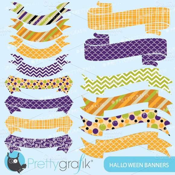 Halloween Banners Clipart Commercial