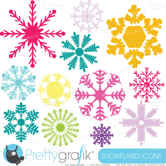 Snowflakes Clipart Commercial Use