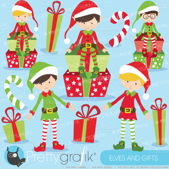 Christmas Elves Boys Clipart
