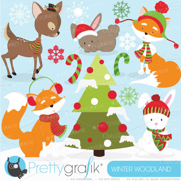 Winter Woodland Clipart Commercial