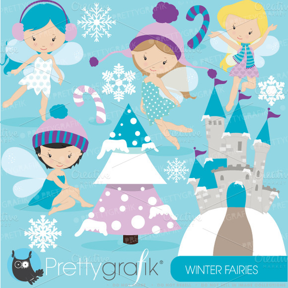 Winter Fairies Clipart Commercial