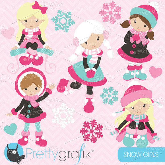 Holiday Snow Girls Clipart