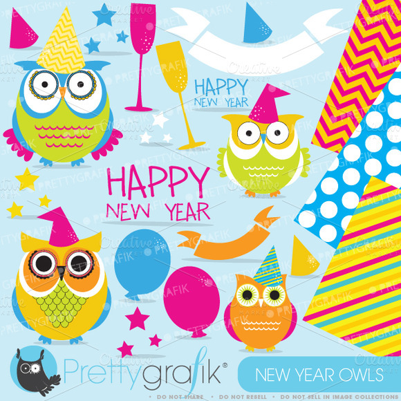 New Year Owls Clipart Commercial Use