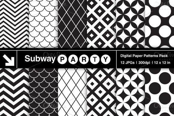 Black White Retro Geometric Patterns