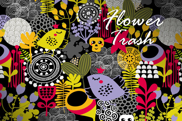 5 Seamless Flower Trash Patterns