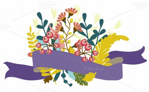 Retro Flowers Cute Floral Bouquet
