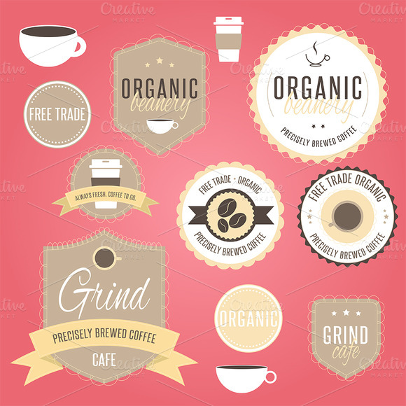 Coffee Cafe Badges Logo Vol 1