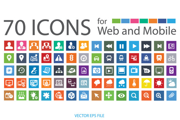 70 Flat Vector ICONS