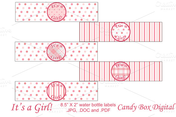 Baby Girl Water Bottle Napkin Wraps