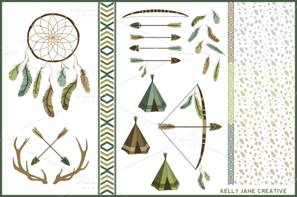 Arrows Antlers Feathers Vector