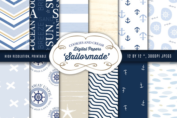 Nautical Themed Digital Papers