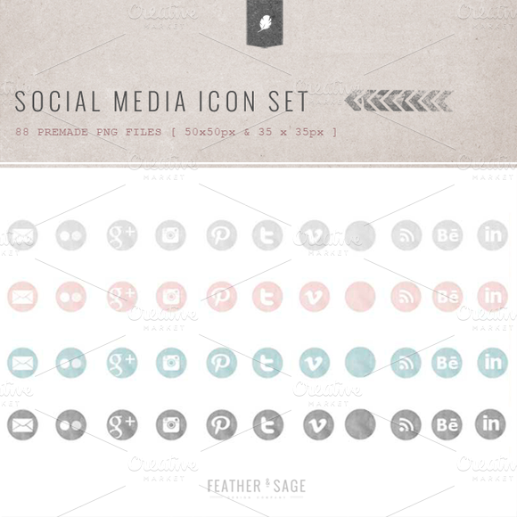 Premade Social Media Icons Set V.2