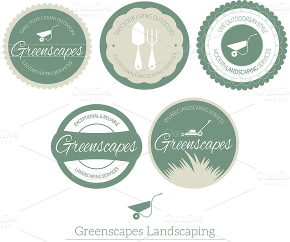 Landscape Services Badge Logo Vol 1