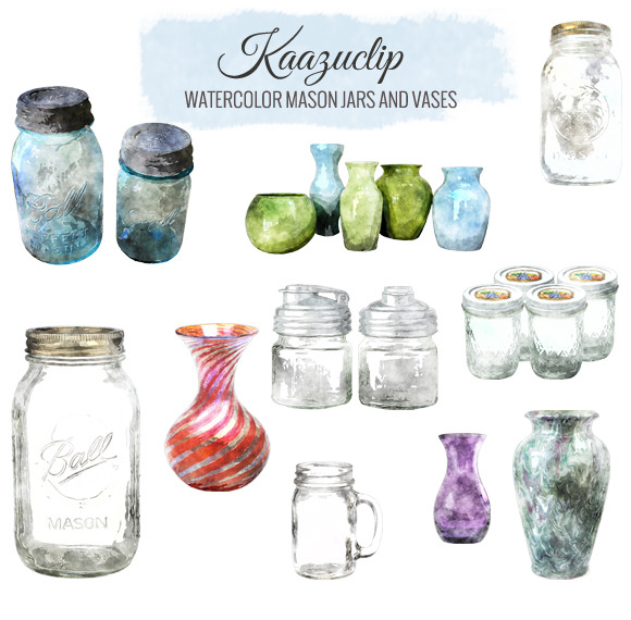 Watercolor Mason Jar And Vases