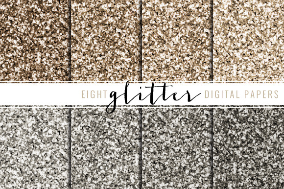 Glitter Digital Paper Silver Rose