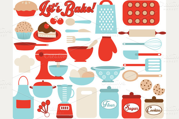 Lets Bake Kitchen Utensil Icons
