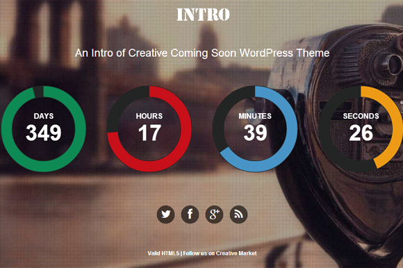 Intro Coming Soon WordPress Theme