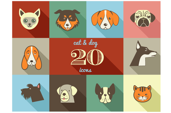 Dogs Cats Flat Vector Icons Set