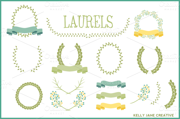 Laurels Ribbons Wreaths Vector