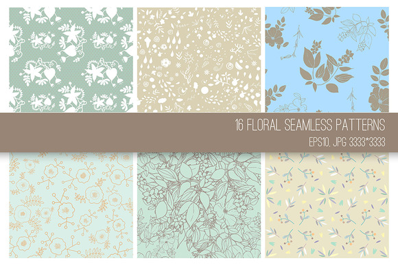 16 Floral Seamless Patterns