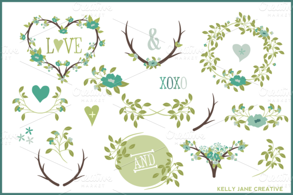 Hearts Wreaths Laurels Vector