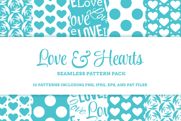 Love Hearts 10 Seamless Patterns