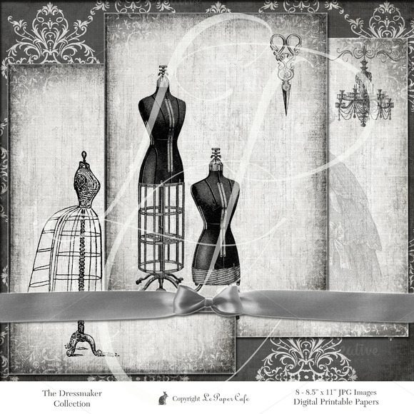 Vintage Dressmaker Digital Paper