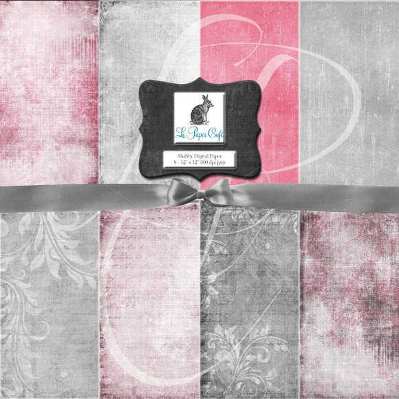 Shabby Pink Grey Digital Paper