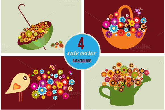 Cute Vector Spring Cards Vector