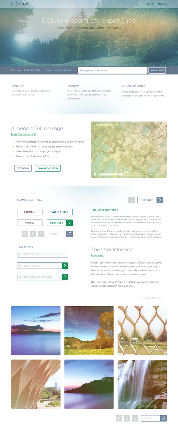 ClearUX PSD Template GUI Kit