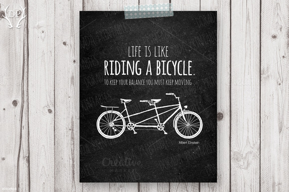 Tandem Bicycle Quote Einstein Art