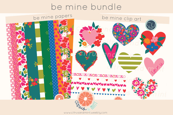 Hearts Clip Art Paper Bundle