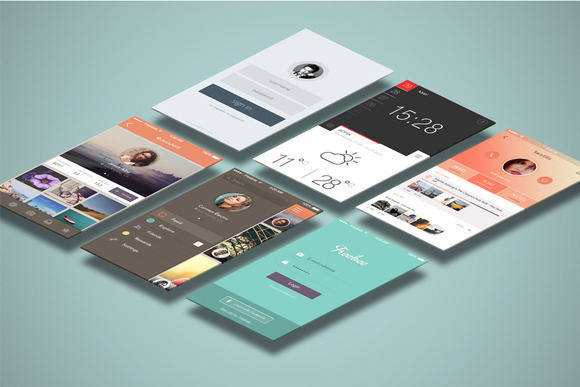 Mobile Mock Ups Isometric Scenes