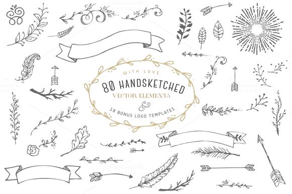 Hand Drawn Elements Logos