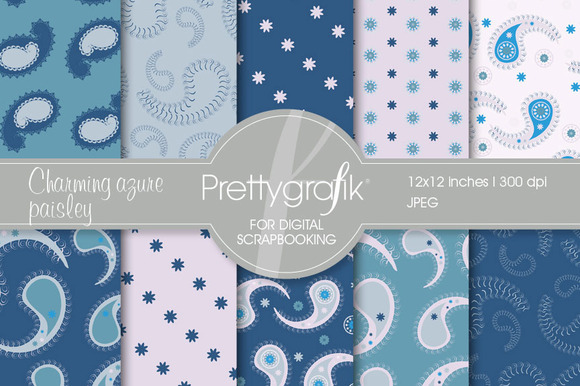 Blue Paisley Digital Paper